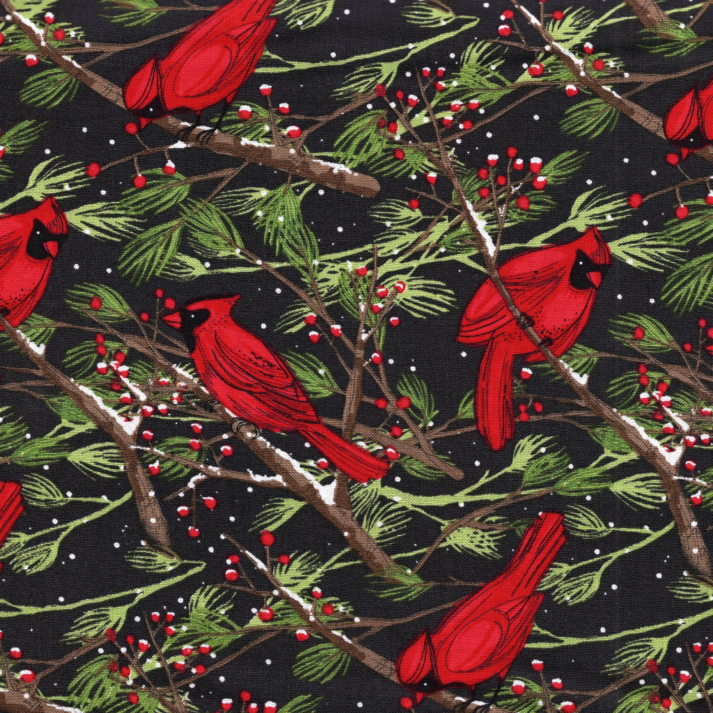 Christmas Cardinals Images.Moda Splendid 48651 18 Christmas Cardinals On Charcoal By The Yard