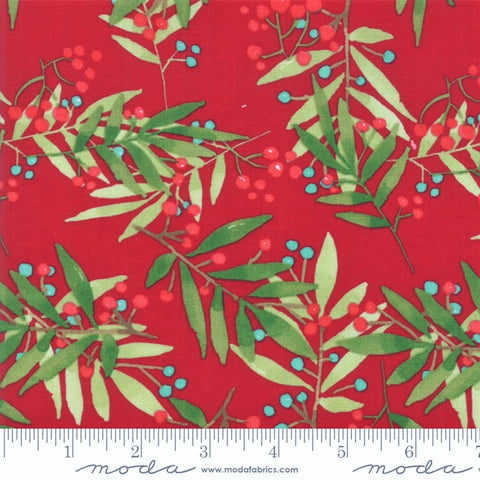 Moda Splendid 48652 13 Crimson Simple Leaf & Berry By The Yard
