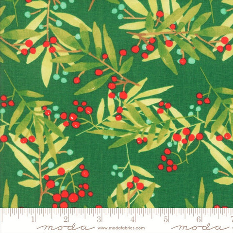 Moda Splendid 48652 14 Pine Green Simple Leaf & Berry By The Yard