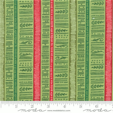 Moda Splendid 48654 15 Leaf Christmas Stripe By The Yard