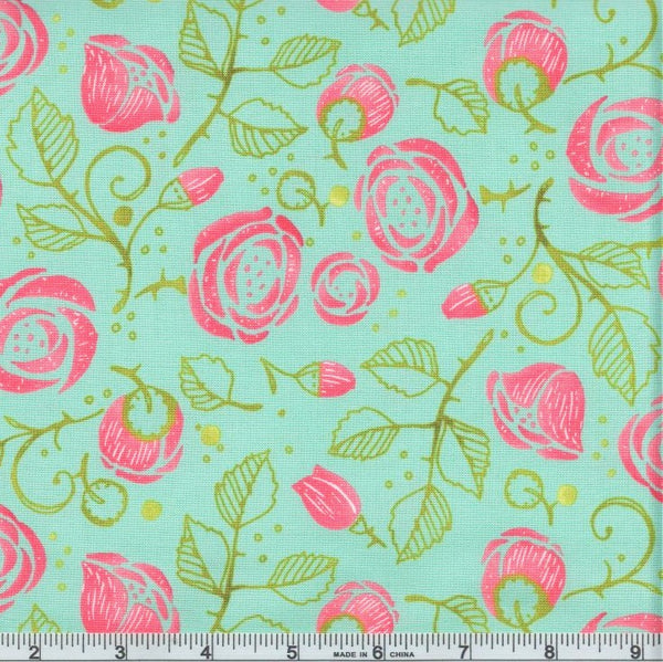 Moda Robin Pickens Abby Rose 48671 15 Seafoam Bramble By The Yard