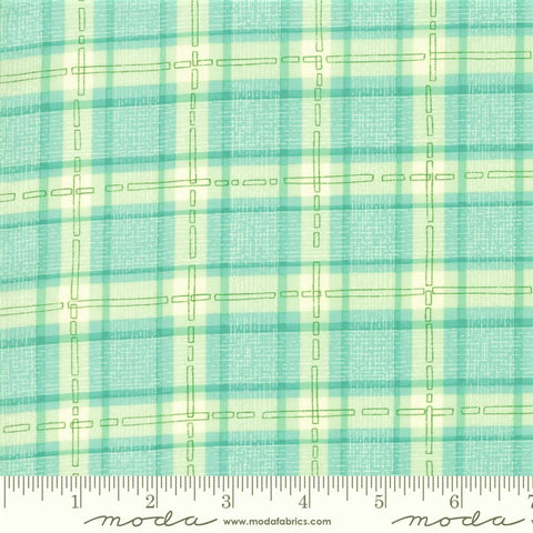 Moda Robin Pickens Abby Rose 48675 15 Seafoam Plaid With Ease By The Yard