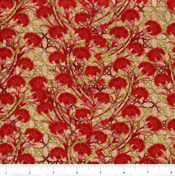 In The Beginning Fabrics Pastiche 4JYG 1 Red Fan Flowers By The Yard