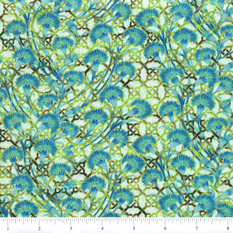 In The Beginning Fabrics Pastiche 4JYG 2 Blue Fan Flowers On light Green By The Yard