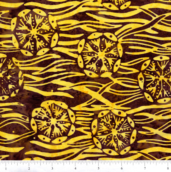 Anthology Batik 5025 Yellow Tribal Floral On Brown By The Yard