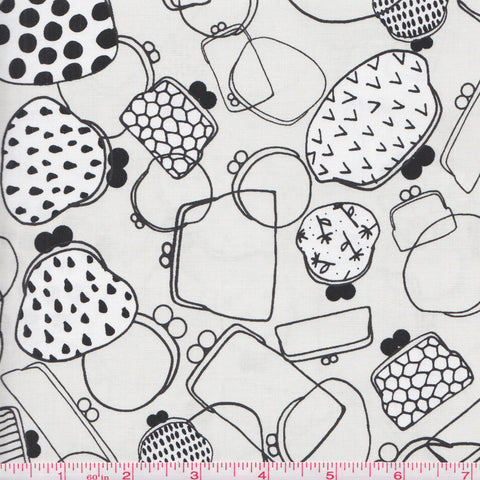 Cotton + Steel Black and White 5027 1 Coin Purses on Gray by the yard