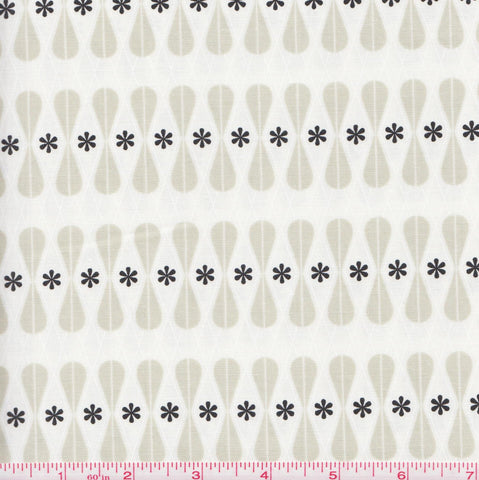 Cotton + Steel Black and White 5035 1 Flowers and Hourglass Figures by the yard