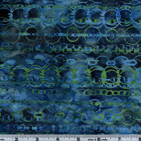 Hoffman Bali Batik BLU 5039 Breakwater Multi Rings By The Yard