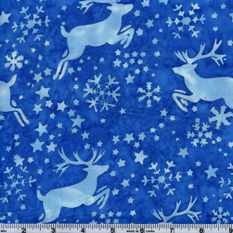 Hoffman Bali Batik BLU 5044 Zone Reindeer & Snowflakes By The Yard