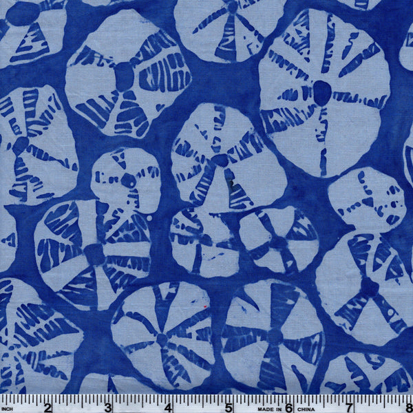 Hoffman Batik Open Waters BLU 5045 Tide Sand Dollars By The Yard