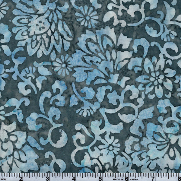 Hoffman Bali Batik BLU 5048 Mist All Over Floral Design By The Yard