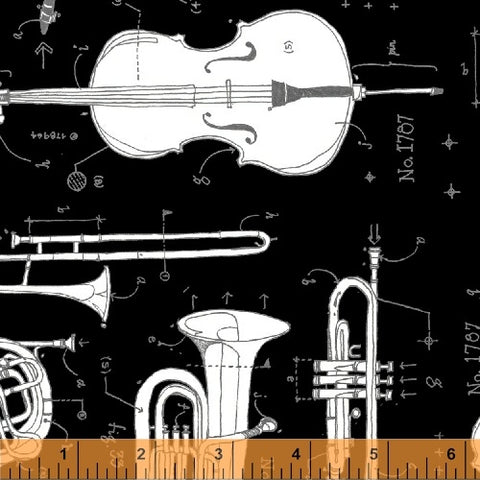 Windham Fabrics Opus 50795 2 Anatomy of Music on Black By The Yard