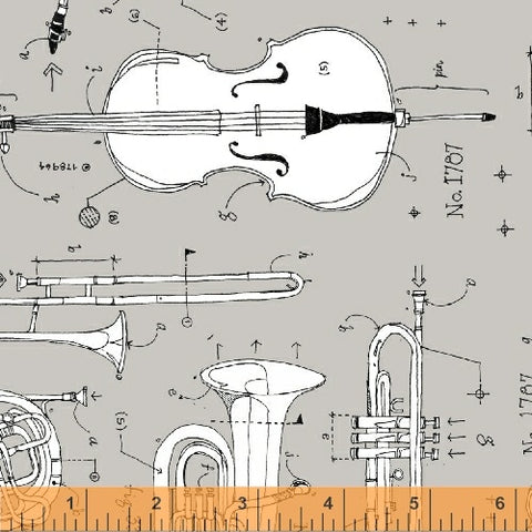 Windham Fabrics Opus 50795 3 Anatomy of Music on Grey By The Yard