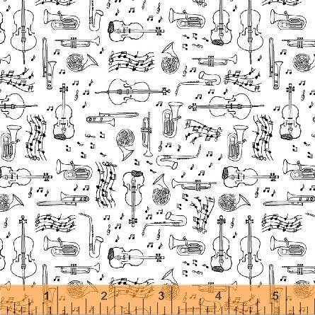 Windham Fabrics Opus 50798 1 Instruments on White By The Yard