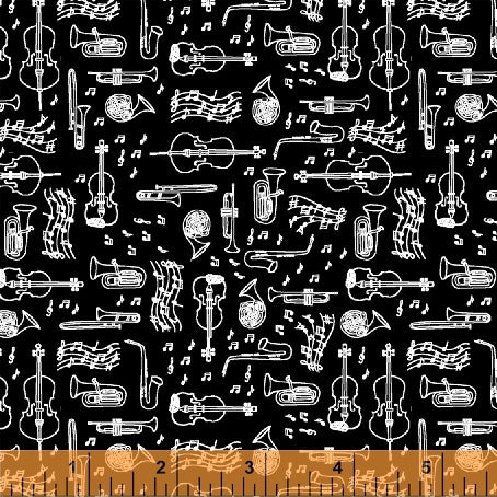 Windham Fabrics Opus 50798 2 Instruments on Black By The Yard