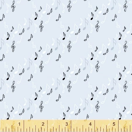 Windham Fabrics Opus 50799 3 Musical Notes Grey By The Yard
