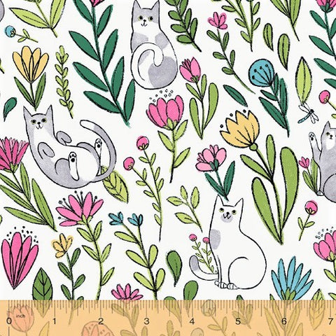 Windham Fabrics Catnip 50822 1 Flower Cats on White By The Yard