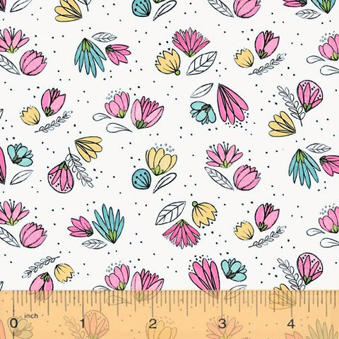 Windham Fabrics Catnip 50824 1 Small Flowers on White By The Yard