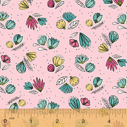 Windham Fabrics Catnip 50824 2 Small Flowers on Light Pink By The Yard