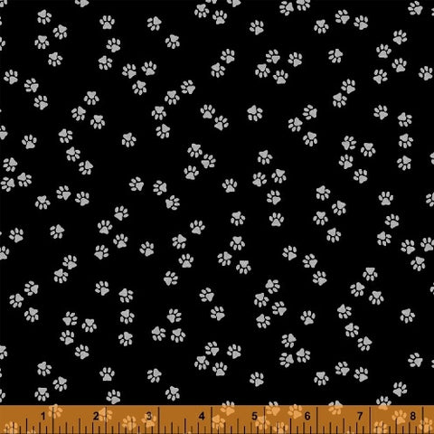 Windham Cat Happy 51123 2 Tiny Paws On Black By The Yard