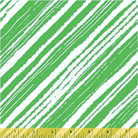 Windham Make Merry 51155 2 Green Modern Candy Cane Stripe By The Yard