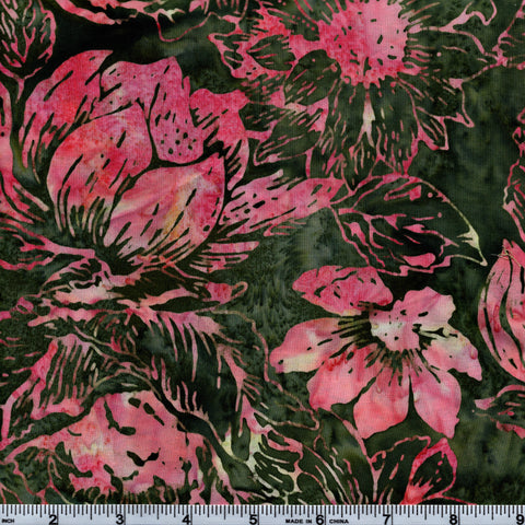 Hoffman Bali Batik MUL 5122 Lucia Large Pink Floral On Green By The Yard