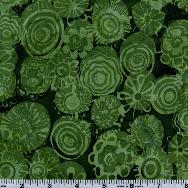Hoffman Bali Batik GRN 5135 Ramona Green Retro Flowers By The Yard