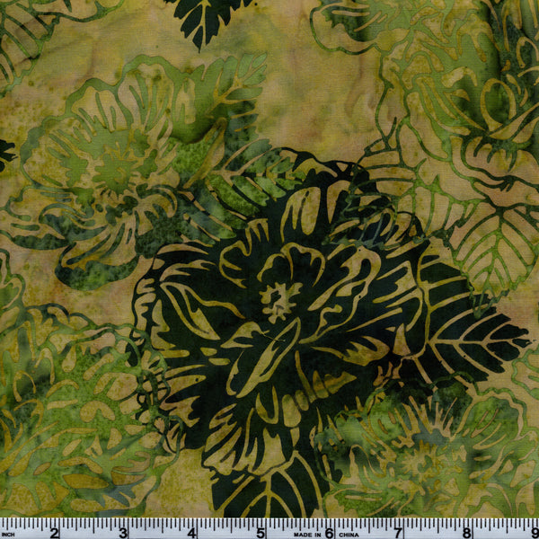 Hoffman Bali Batik GRN 5138 Cecilia Green Floral & Leaves On Green By The Yard