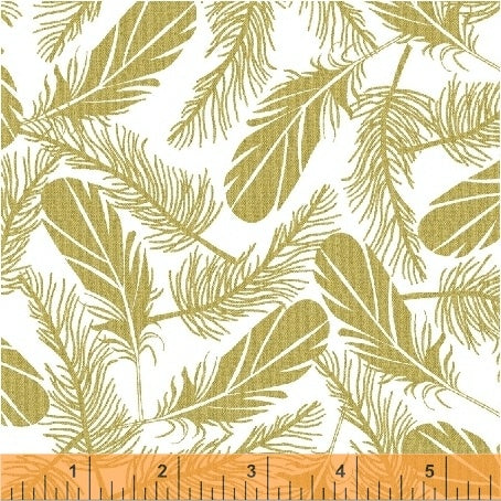 Windham Metallic Precious Metal Nature 51405 2  White Friendly Feathers By The Yard