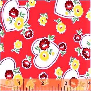 Windham Sugar Sack II 51448 1 Red Hearts & Flowers By The Yard