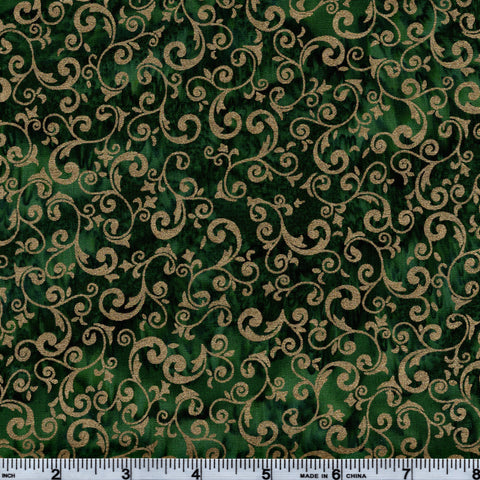 Hoffman Bali Batik GRN 5146 Holiday Gold Vines On Green By The Yard