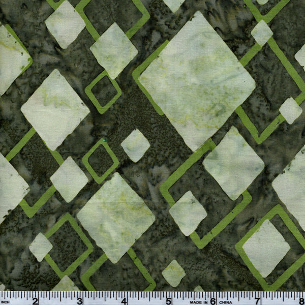 Hoffman Bali Batik GRN 5155 Midori Green Diamonds By The Yard