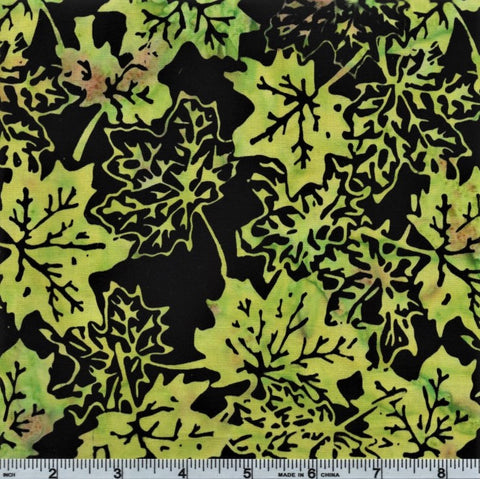 Anthology Batik 5159 Lime Fall Leaves By The Yard
