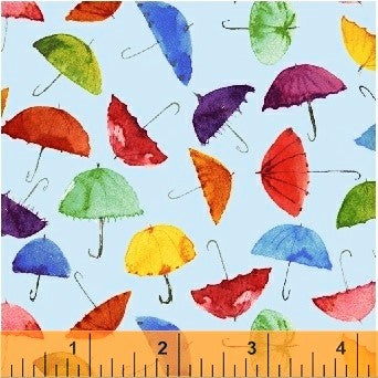 Windham Rain Or Shine 51651 2 Blue Umbrellas By The Yard