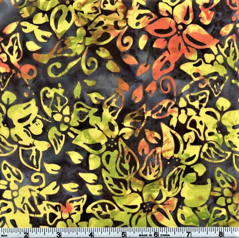 Anthology Batik 5173 Yellow Medium Flowers By The Yard