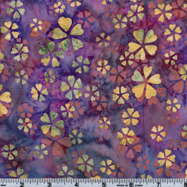 Hoffman Bali Batik MUL 5204 Clever Clovers On Purple By The Yard