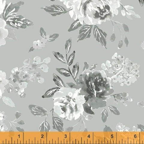 Windham Colette 52051 3 Grey In Full Bloom By The Yard