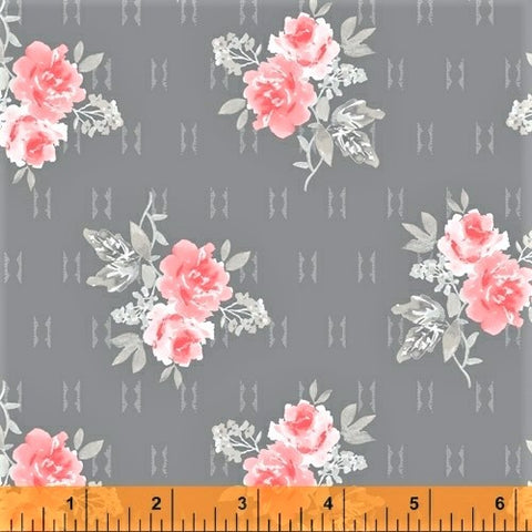 Windham Colette 52053 4 Grey Small Rose Bouquet By The Yard