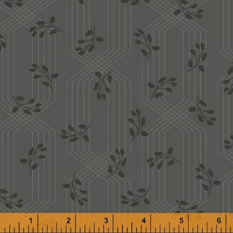 Windham Colette 52054 2 Charcoal Lattice Leaves By The Yard