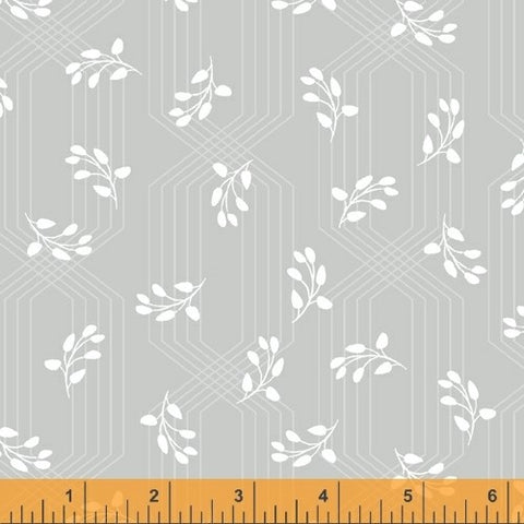 Windham Colette 52054 3 Grey Lattice Leaves By The Yard