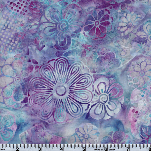 Hoffman Bali Batik PUR 5209 Groovy Retro Purple Floral By The Yard
