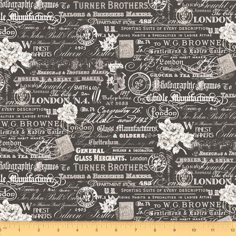 Windham London 52344 3 Charcoal Text & Stamps By The Yard