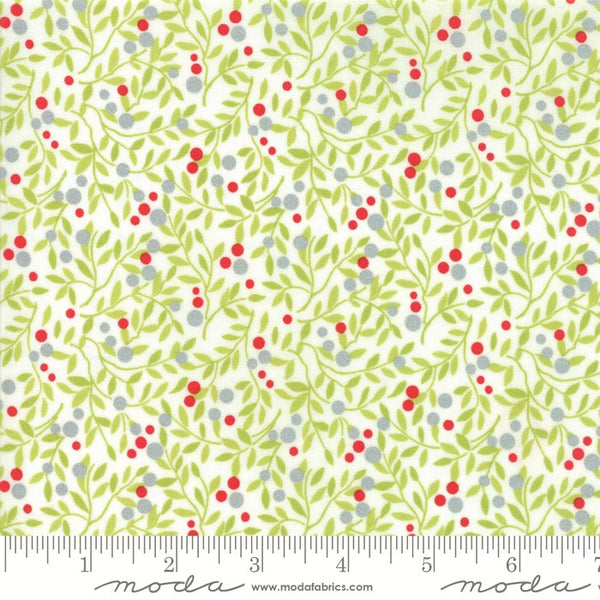 Moda Metallic Vintage Holiday 55161 18 Ivory Vine Berries By The Yard