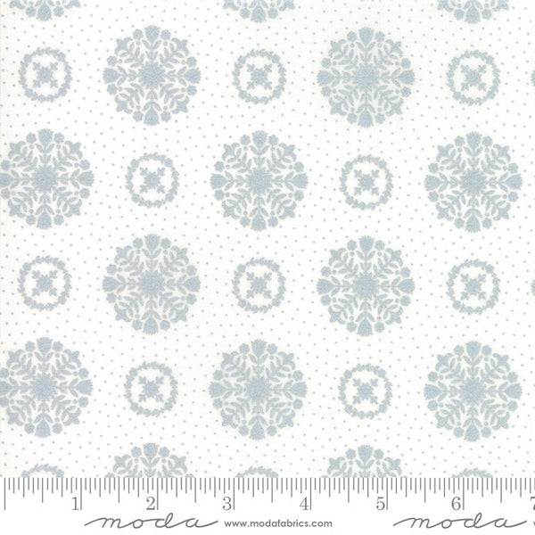 Moda Metallic Vintage Holiday 55166 18 Floral Snowflakes Silver By The Yard