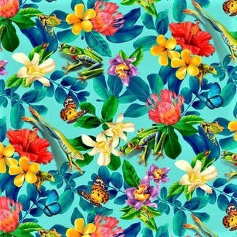 Studio E Jewels Of The Jungle 5561 17 Cerulean Floral And Fauna By The Yard