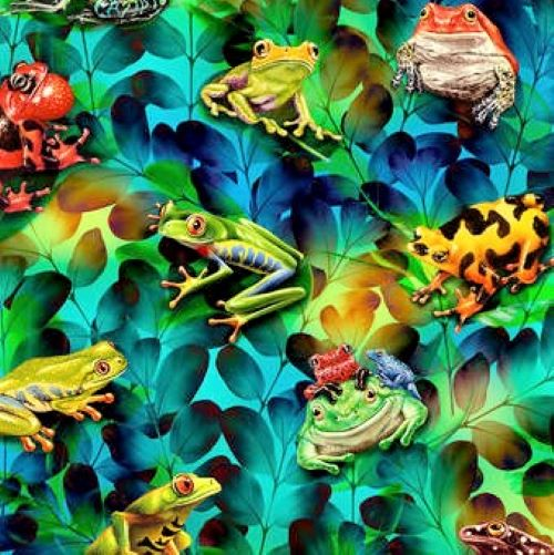Studio E Jewels Of The Jungle 5563 17 Cerulean Frog And Foliage By The Yard