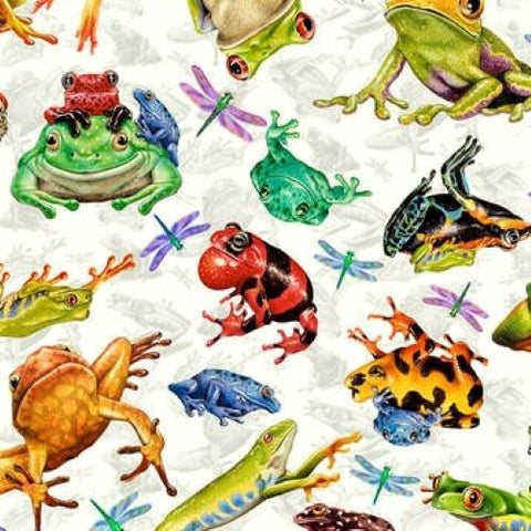 Studio E Jewels Of The Jungle 5564 9 White Frog And Dragonfly Allover By The Yard