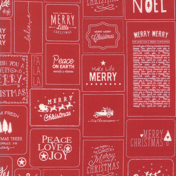 Moda The Christmas Card 5770 21 Red Christmas Cards By The Yard