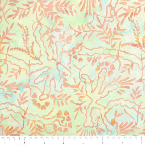 Anthology Batik 598 Peach Abstract Leaves On Pale Green By The Yard