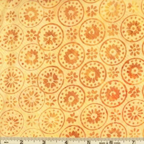 In The Beginning Floragraphix Batik 4 - 5GBD 1 Buttercup Circle Flowers By The Yard